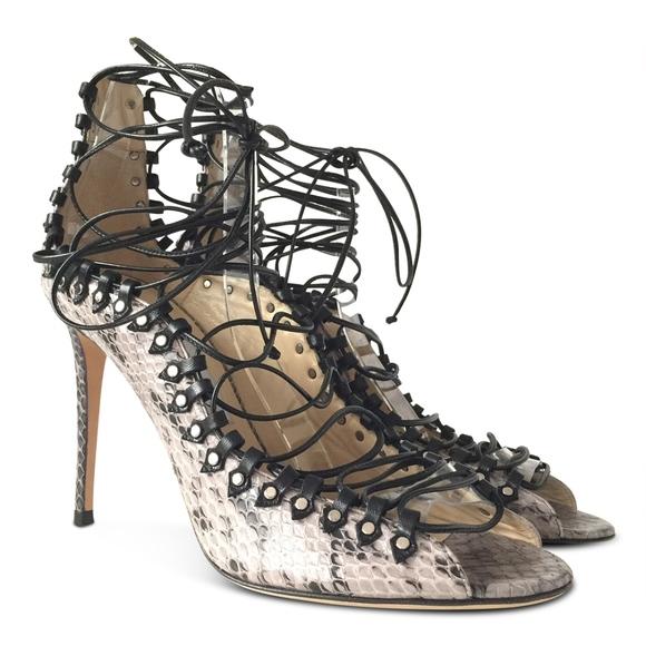5d8f55d9c63a JIMMY CHOO Koko Snakeskin Lace-Up Heels. NWT